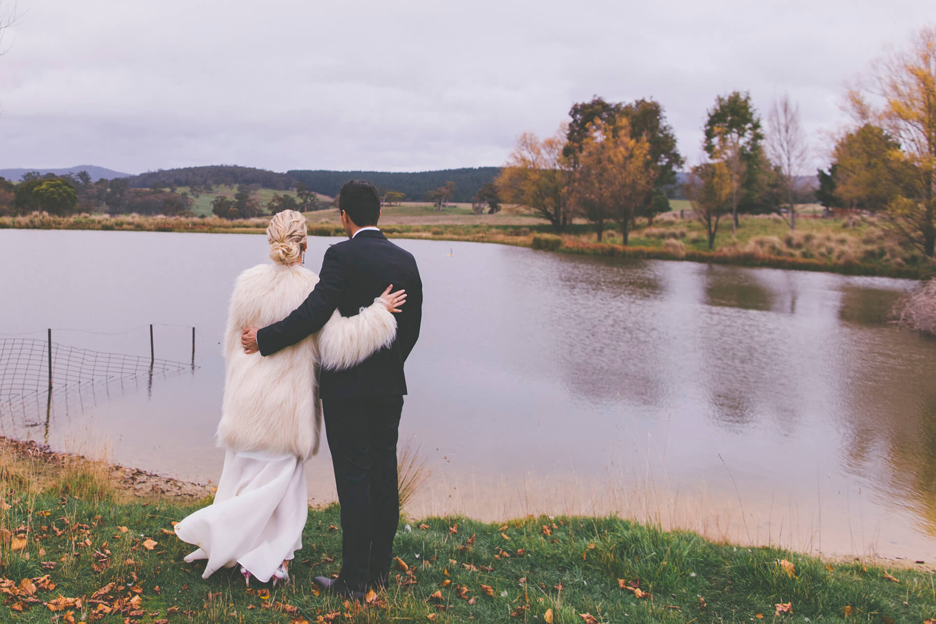 Couple in a lake hugging each other